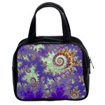 Sea Shell Spiral, Abstract Violet Cyan Stars Classic Handbag (Two Sides)