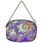 Sea Shell Spiral, Abstract Violet Cyan Stars Chain Purse (One Side)