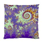 Sea Shell Spiral, Abstract Violet Cyan Stars Cushion Case (Two Sided)