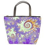 Sea Shell Spiral, Abstract Violet Cyan Stars Bucket Handbag