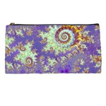Sea Shell Spiral, Abstract Violet Cyan Stars Pencil Case