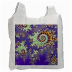 Sea Shell Spiral, Abstract Violet Cyan Stars White Reusable Bag (Two Sides)