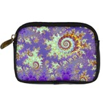 Sea Shell Spiral, Abstract Violet Cyan Stars Digital Camera Leather Case