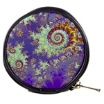 Sea Shell Spiral, Abstract Violet Cyan Stars Mini Makeup Case