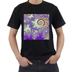 Sea Shell Spiral, Abstract Violet Cyan Stars Men s T-shirt (Black)