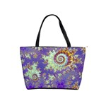 Sea Shell Spiral, Abstract Violet Cyan Stars Large Shoulder Bag