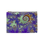 Sea Shell Spiral, Abstract Violet Cyan Stars Cosmetic Bag (Medium)