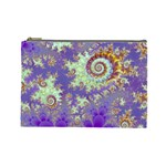 Sea Shell Spiral, Abstract Violet Cyan Stars Cosmetic Bag (Large)