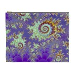 Sea Shell Spiral, Abstract Violet Cyan Stars Cosmetic Bag (XL)
