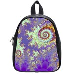 Sea Shell Spiral, Abstract Violet Cyan Stars School Bag (Small)