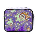 Sea Shell Spiral, Abstract Violet Cyan Stars Mini Travel Toiletry Bag (One Side)