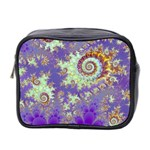 Sea Shell Spiral, Abstract Violet Cyan Stars Mini Travel Toiletry Bag (Two Sides)