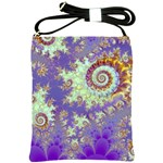Sea Shell Spiral, Abstract Violet Cyan Stars Shoulder Sling Bag