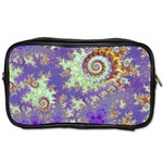 Sea Shell Spiral, Abstract Violet Cyan Stars Travel Toiletry Bag (Two Sides)