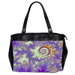 Sea Shell Spiral, Abstract Violet Cyan Stars Oversize Office Handbag (Two Sides)