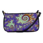 Sea Shell Spiral, Abstract Violet Cyan Stars Evening Bag