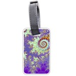 Sea Shell Spiral, Abstract Violet Cyan Stars Luggage Tag (Two Sides)