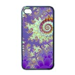Sea Shell Spiral, Abstract Violet Cyan Stars Apple iPhone 4 Case (Black)