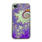 Sea Shell Spiral, Abstract Violet Cyan Stars Apple iPhone 4 Case (Clear)
