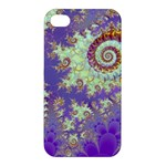 Sea Shell Spiral, Abstract Violet Cyan Stars Apple iPhone 4/4S Premium Hardshell Case