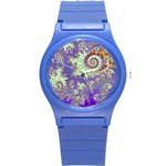 Sea Shell Spiral, Abstract Violet Cyan Stars Plastic Sport Watch (Small)