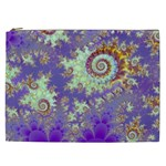 Sea Shell Spiral, Abstract Violet Cyan Stars Cosmetic Bag (XXL)