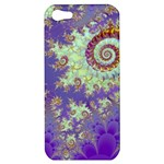 Sea Shell Spiral, Abstract Violet Cyan Stars Apple iPhone 5 Hardshell Case
