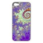 Sea Shell Spiral, Abstract Violet Cyan Stars Apple iPhone 5 Case (Silver)