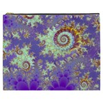 Sea Shell Spiral, Abstract Violet Cyan Stars Cosmetic Bag (XXXL)
