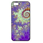 Sea Shell Spiral, Abstract Violet Cyan Stars Apple iPhone 5 Seamless Case (Black)