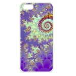 Sea Shell Spiral, Abstract Violet Cyan Stars Apple iPhone 5 Seamless Case (White)