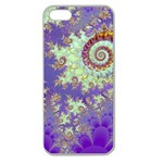 Sea Shell Spiral, Abstract Violet Cyan Stars Apple Seamless iPhone 5 Case (Clear)