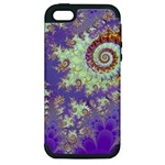 Sea Shell Spiral, Abstract Violet Cyan Stars Apple iPhone 5 Hardshell Case (PC+Silicone)