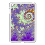 Sea Shell Spiral, Abstract Violet Cyan Stars Apple iPad Mini Case (White)