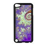 Sea Shell Spiral, Abstract Violet Cyan Stars Apple iPod Touch 5 Case (Black)