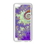 Sea Shell Spiral, Abstract Violet Cyan Stars Apple iPod Touch 5 Case (White)