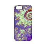 Sea Shell Spiral, Abstract Violet Cyan Stars Apple iPhone 5 Classic Hardshell Case (PC+Silicone)