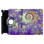 Sea Shell Spiral, Abstract Violet Cyan Stars Apple iPad 2 Flip 360 Case