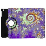 Sea Shell Spiral, Abstract Violet Cyan Stars Apple iPad Mini Flip 360 Case