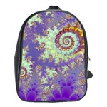 Sea Shell Spiral, Abstract Violet Cyan Stars School Bag (XL)
