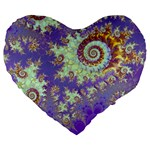 Sea Shell Spiral, Abstract Violet Cyan Stars 19  Premium Heart Shape Cushion