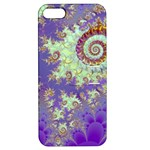Sea Shell Spiral, Abstract Violet Cyan Stars Apple iPhone 5 Hardshell Case with Stand