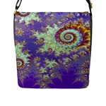 Sea Shell Spiral, Abstract Violet Cyan Stars Flap Closure Messenger Bag (Large)