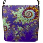Sea Shell Spiral, Abstract Violet Cyan Stars Flap Closure Messenger Bag (Small)