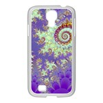 Sea Shell Spiral, Abstract Violet Cyan Stars Samsung GALAXY S4 I9500/ I9505 Case (White)