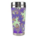 Sea Shell Spiral, Abstract Violet Cyan Stars Stainless Steel Travel Tumbler