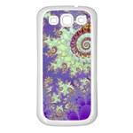 Sea Shell Spiral, Abstract Violet Cyan Stars Samsung Galaxy S3 Back Case (White)