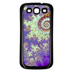 Sea Shell Spiral, Abstract Violet Cyan Stars Samsung Galaxy S3 Back Case (Black)