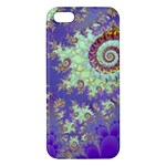 Sea Shell Spiral, Abstract Violet Cyan Stars iPhone 5S Premium Hardshell Case