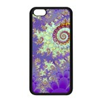 Sea Shell Spiral, Abstract Violet Cyan Stars Apple iPhone 5C Seamless Case (Black)